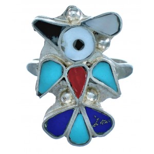 Zuni Indian Multicolor Thunderbird Genuine Sterling Silver Ring Size 7-1/2 RX117593