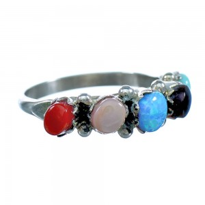 Multicolor Sterling Silver Zuni Jewelry Ring Size 6 RX118033