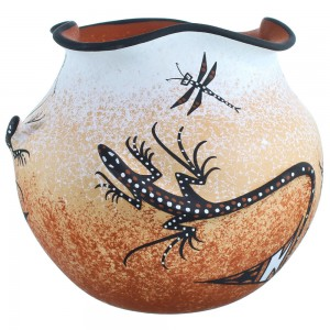 American Indian Zuni Gecko Pot Hand Crafted By Artists Deldrick And Lorenda Cellicion RX117979