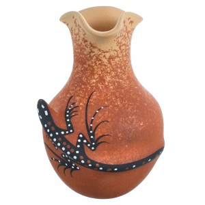American Indian Zuni Gecko Pot Hand Crafted By Artist Lorenda Cellicion RX117994