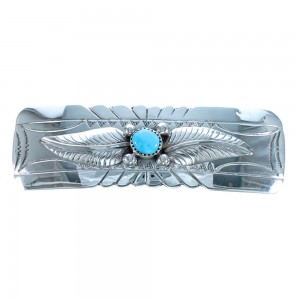 Sterling Silver Turquoise Native American Leaf Hair Barrette BX118452