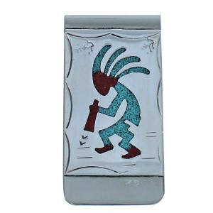 Kokopelli Sterling Silver Turquoise And Coral Inlay Native American Money Clip BX118604