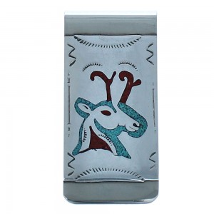 Deer Sterling Silver Turquoise And Coral Inlay Native American Money Clip BX118607