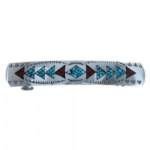 American Indian Sterling Silver Turquoise And Coral Inlay Hair Barrette BX118643