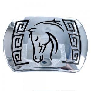 Navajo Horse and Water Waves Genuine Sterling Silver Belt Buckle CB118422