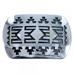 Traditional Navajo Patterned Genuine Sterling Silver Belt Buckle CB118425