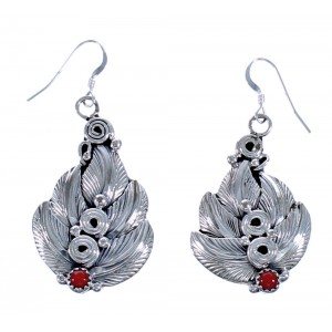 Navajo Authentic Sterling Silver Coral Leaf Hook Dangle Earrings EA118274