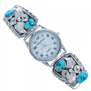 Scalloped Leaf Turquoise And Sterling Silver Navajo Watch CB118234