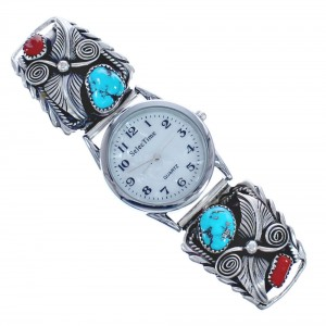Scalloped Leaf Coral and Turquoise Sterling Silver Navajo Watch CB118236