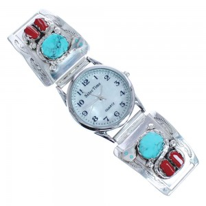 Winding Snake Turquoise And Coral Sterling Silver Effie Calavaza Zuni Watch CB118238