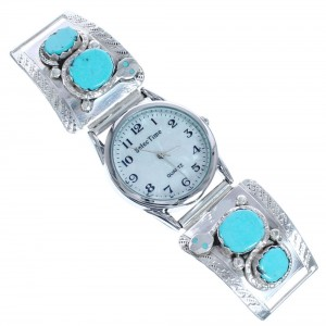 Winding Snake Turquoise Sterling Silver Effie Calavaza Zuni Watch CB118239