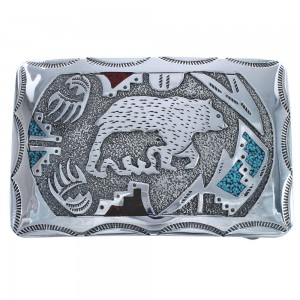 Turquoise And Coral Genuine Sterling Silver Navajo Bear Paw Belt Buckle RX119068