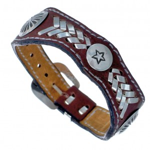 Native American Leather Genuine Sterling Silver Star Bracelet RX118900