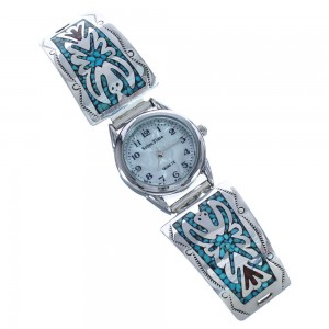 Sterling Silver Navajo Indian Turquoise Coral Inlay Watch RX119331