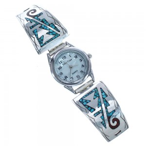 Genuine Sterling Silver Native American Turquoise And Coral Watch RX119340