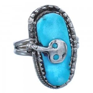 Effie Calavaza Sterling Silver Turquoise Zuni Snake Ring Size 7 BX118962