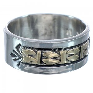 14 Karat Gold Navajo Authentic Sterling Silver Ring Size 7 BX119145