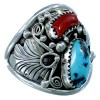 Genuine Sterling Silver Turquoise And Coral Navajo Leaf Ring Size 14 SX109710
